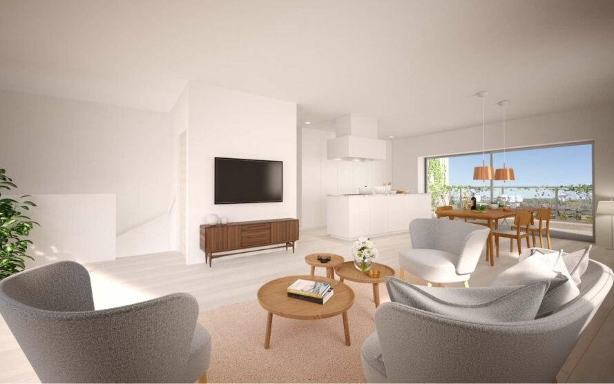 rendering of modern living space with all white furnishings