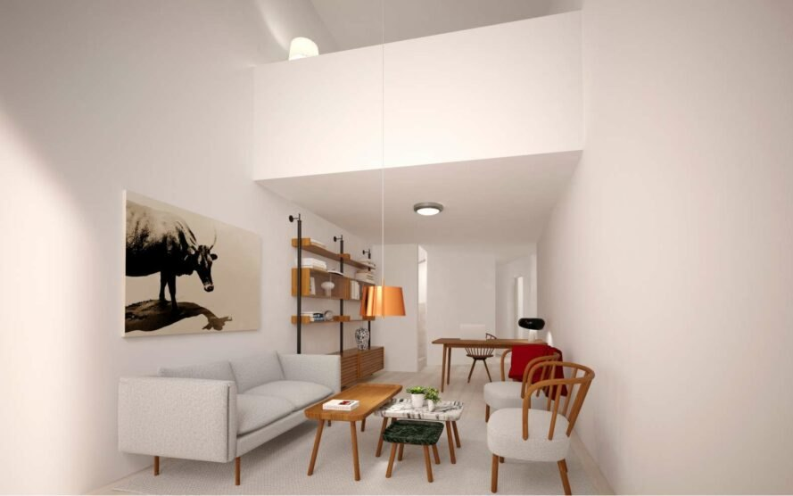 rendering of open-plan living room in an apartment