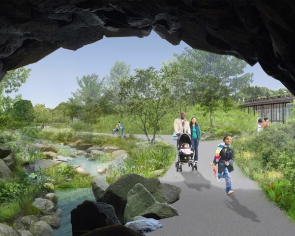 rendering of family walking by a stream in Central Park