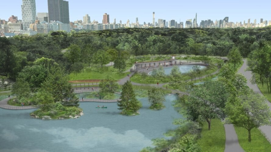 rendering of pond and pool in Central Park