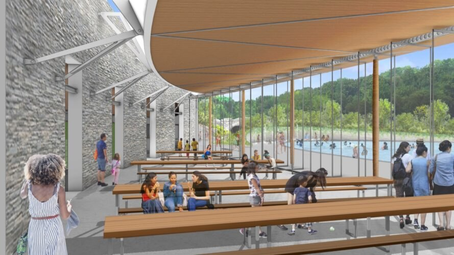 rendering of interior with wood picnic tables
