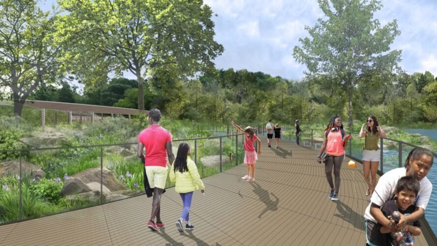 rendering of people walking on wood path through a park and over a pond