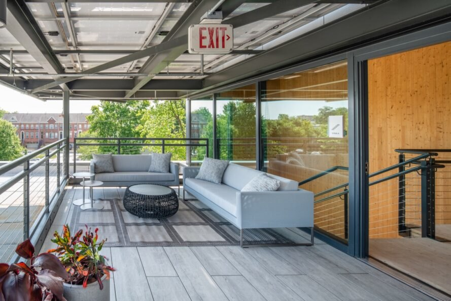 gray sofas on outdoor balcony