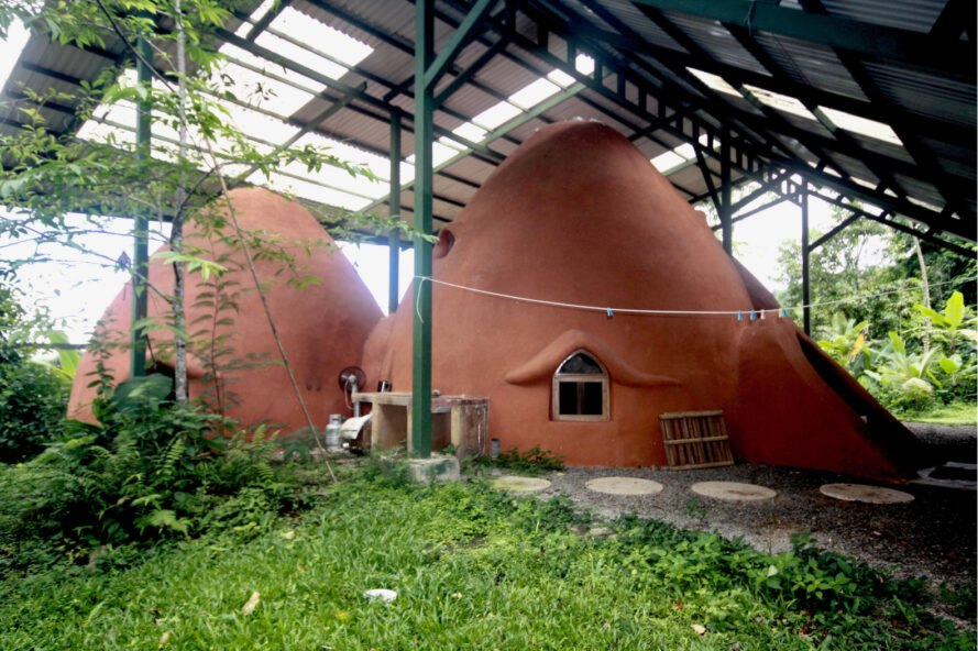 dark tan rammed-earth domes