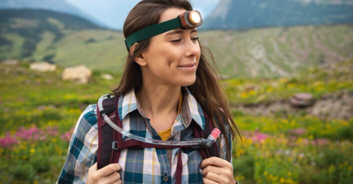 photo of This rechargeable camping headlamp is made out of sustainable wood and recycled aluminum image