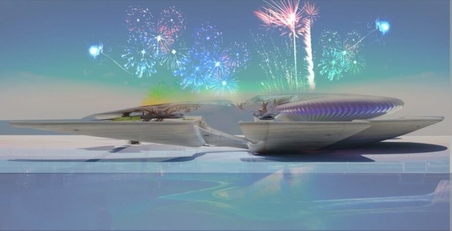 rendering of curving crematorium building with fireworks in the sky