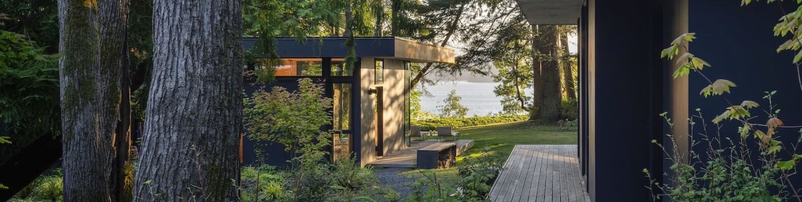 black modern cabin in forest with outdoor deck