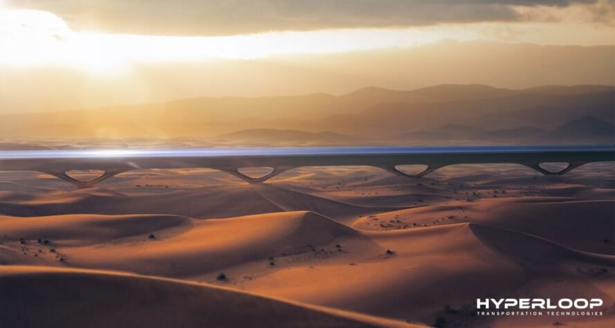 rendering of Hyperloop in the desert