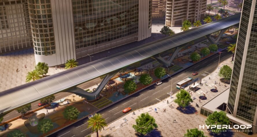 aerial rendering of Hyperloop between roads