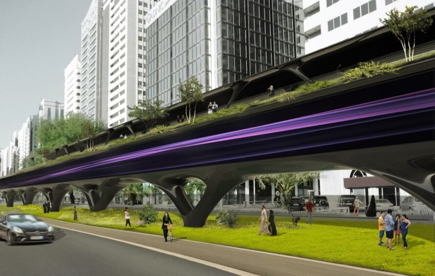 Rendering of plants growing atop a Hyperloop