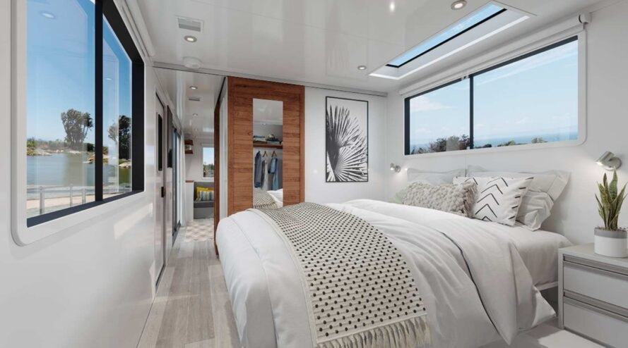 fluffy white bed inside rv