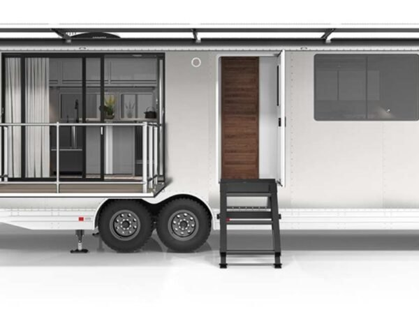 image of long rv with open door