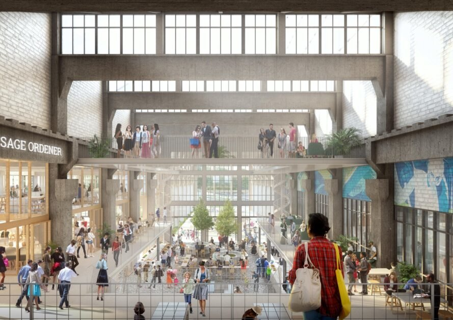 rendering of indoor community space filled with people