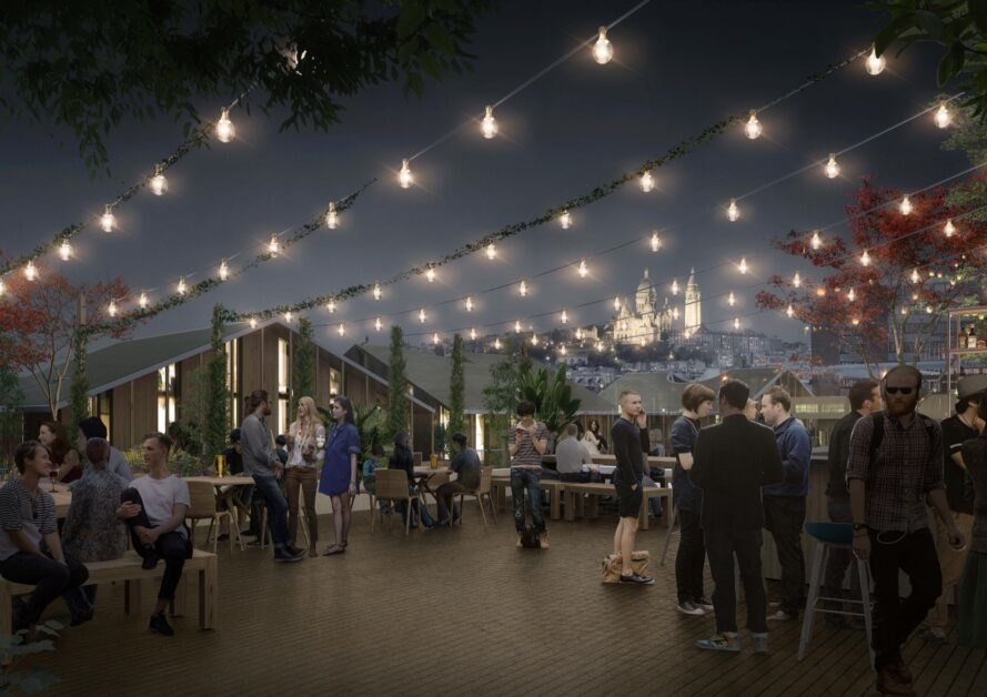 rendering of outdoor patio with string lights