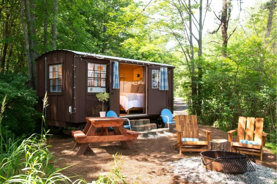 tiny wagon accommodation with outdoor seating