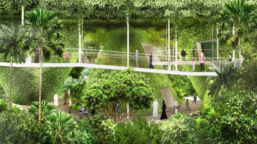 rendering of people walking around plant-covered pavilion