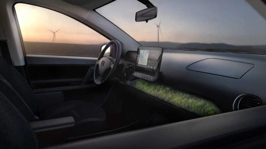 rendering of moss-covered dash in a car
