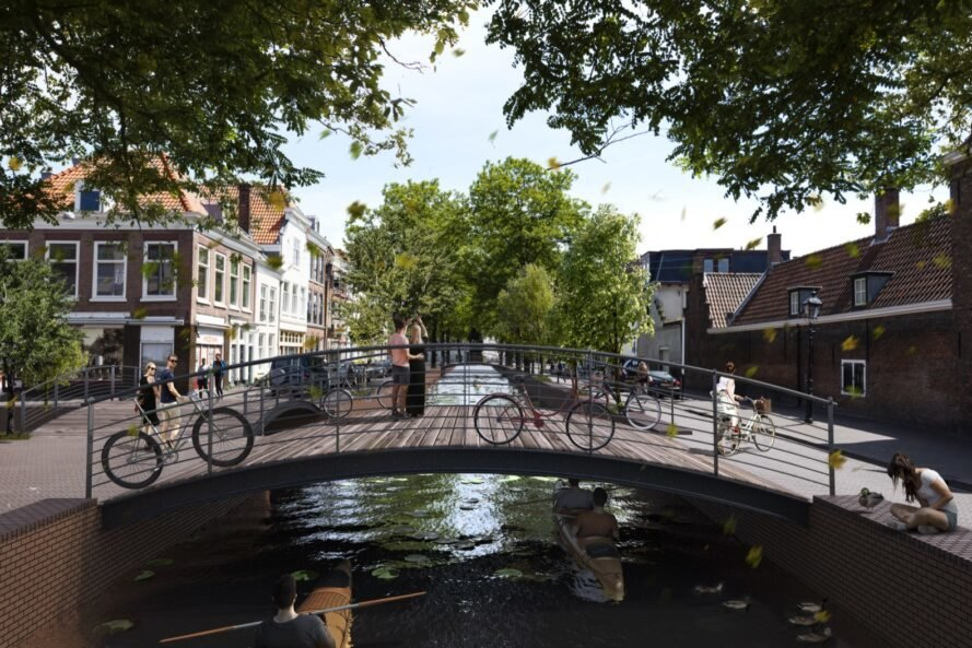 rendering of bikes parked on a bridge over a canal