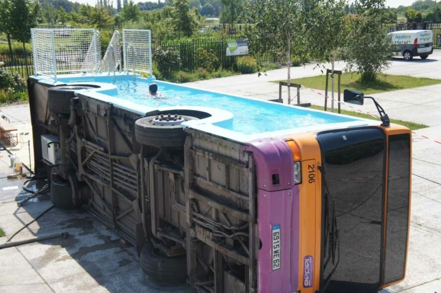 bus turned into swimming pool