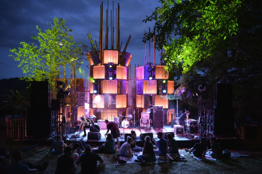 Architecture students build temporary music festival venue using