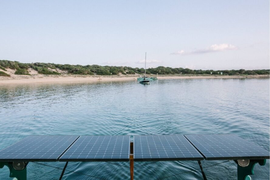 solar-powered boat sailing at sea