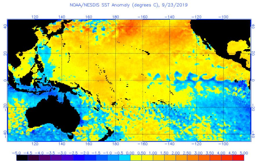 map of marine heat wave in the Pacific Ocean