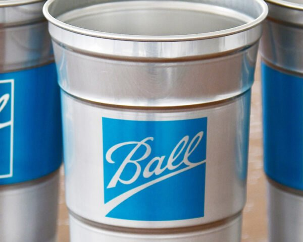 aluminum cups with blue Ball Corp. logo on the front
