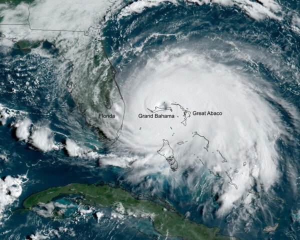 satellite image of Hurricane Dorian when it was over Grand Bahama Island
