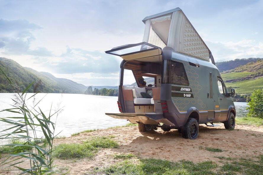 rendering of camper van with pop-top with back hatch open