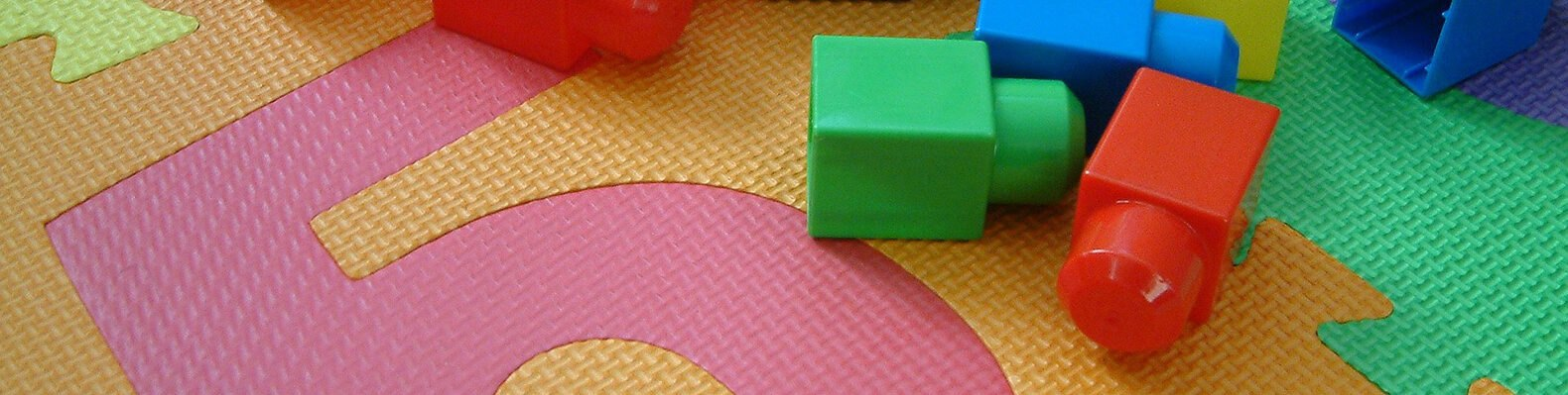 plastic block toys on a plastic mat