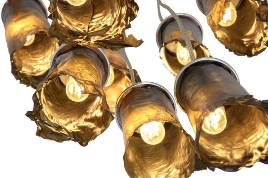 golden-brown cylindrical algae lamps