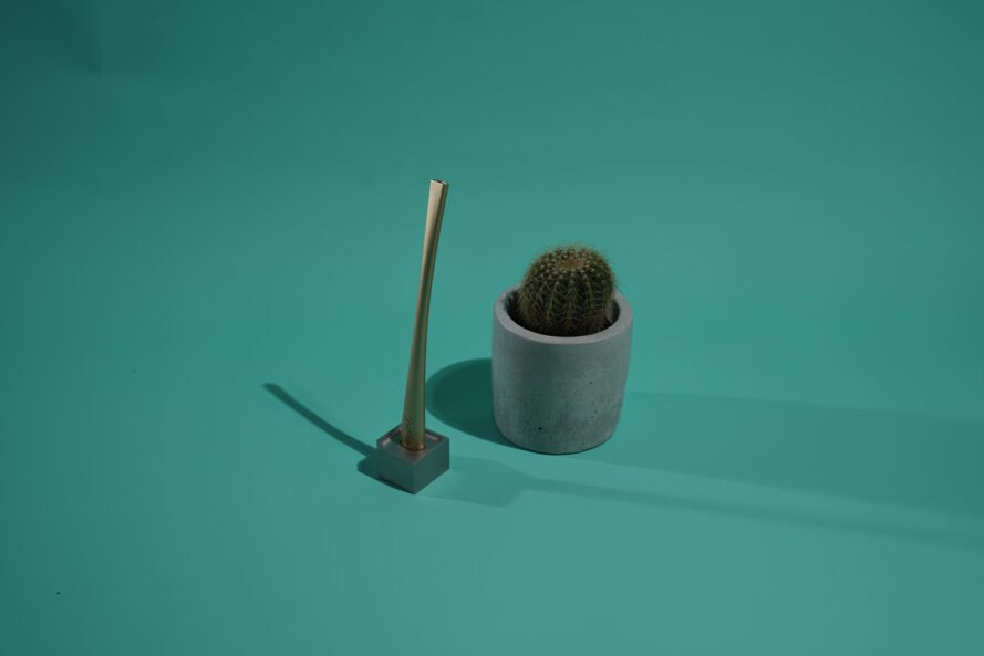 gold toothbrush in a stand next to a plant on teal background