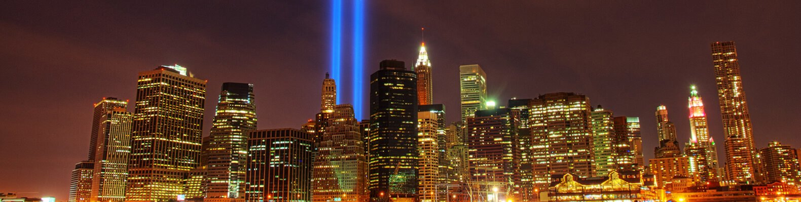 blue beams of light in NYC to honor fallen Twin Towers