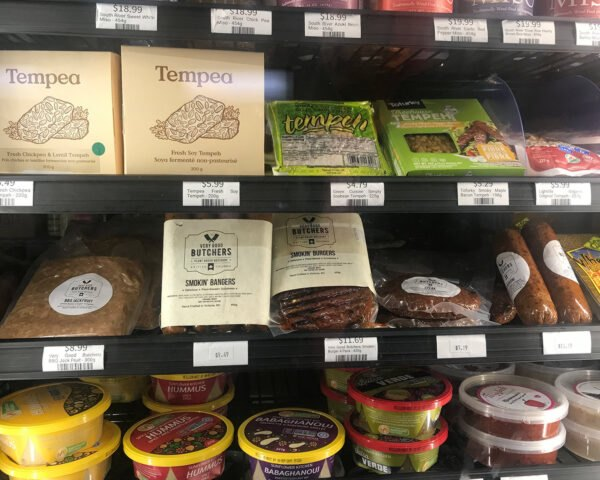 plant-based meats in a grocery store