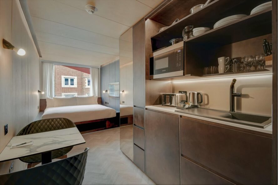 wood kitchenette of hotel room