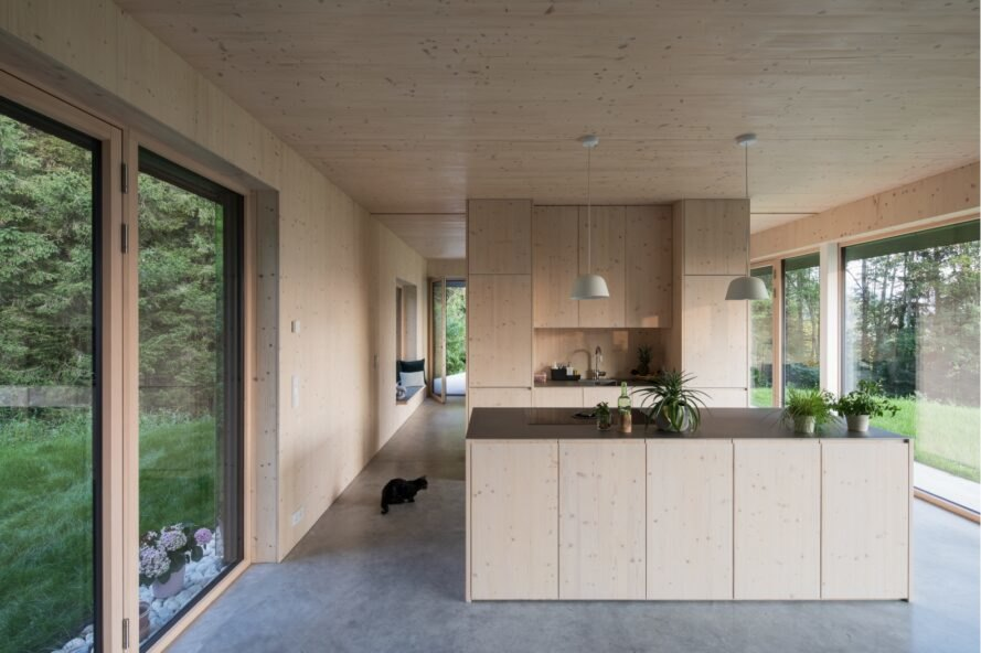 interior living space with kitchen and large glazed facades