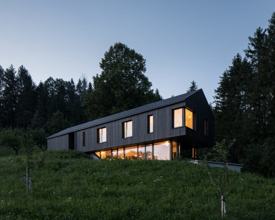 Elongated home with pitched roof
