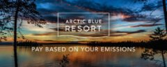 "Sunset over lake with typing that reads ""Arctic Blue Resort - Pay Based on Your Emissions"""