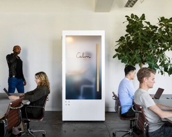 white booth inside office space