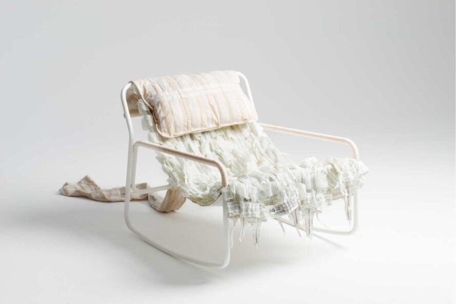 white chair made out of repurposed parachute