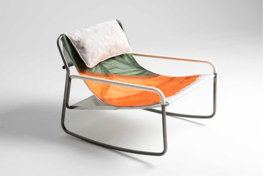 low-slung chair with multicolored fabric
