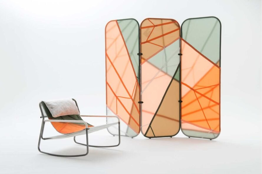 colorful chair with three panels in the back