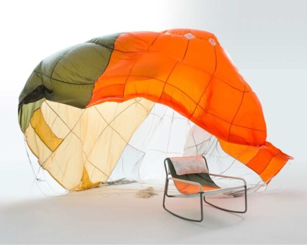 colorful parachute behind chair
