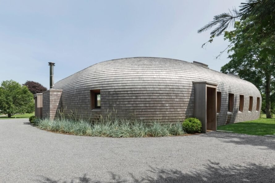 curved volume covered in cedar shingles