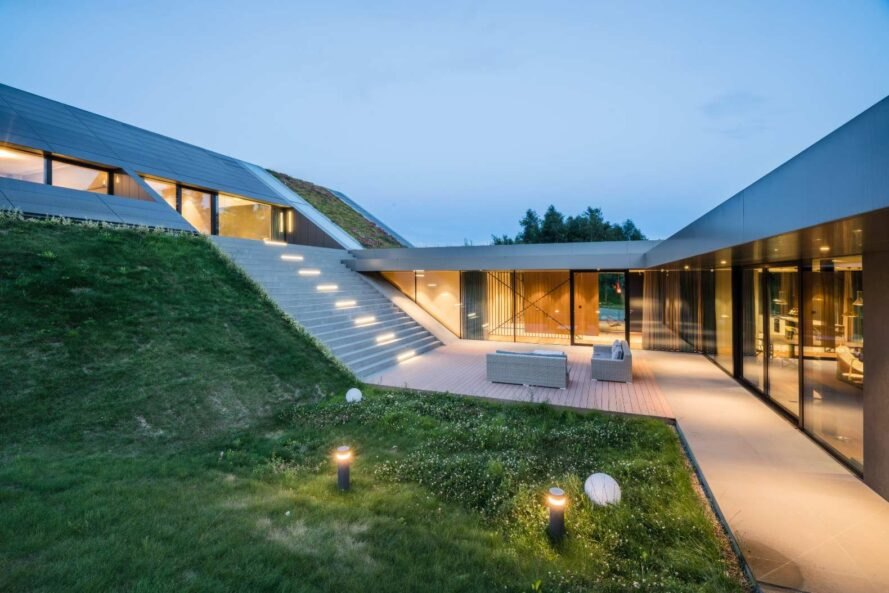outdoor space of home embedded into the landscape