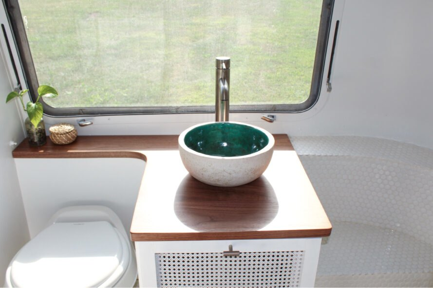 small white bowl sink in a bathroom