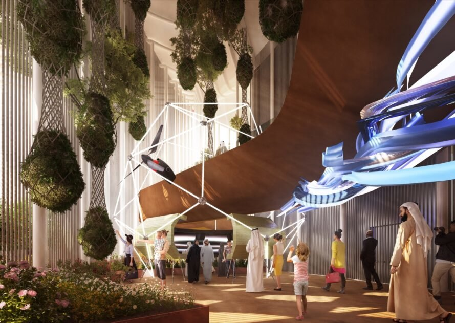 rendering of pavilion interior with huge hanging plants