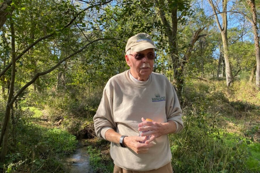Harold Friestad giving a tour of nature conservancy