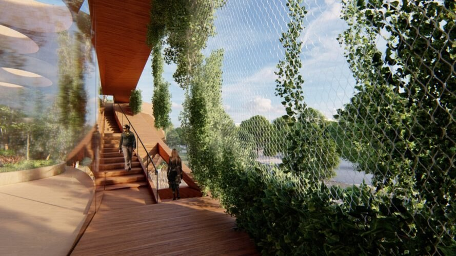 rendering of mesh screen covered in plants