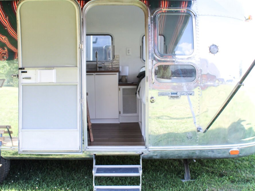 entrance into renovated Airstream